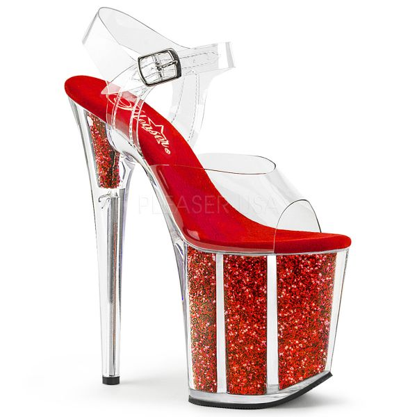Durchsichtige Sandalette mit rot Glitter gefülltem Plateau FLAMINGO-808G